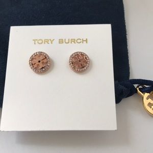Tory Burch Jewelry - New Tory Burch crystal logo stud earrings